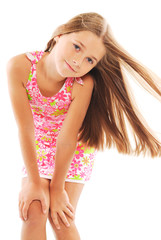 Little blond girl with long hair