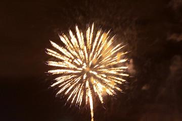 Gold fireworks explosion