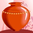 Illustration of design pot with background