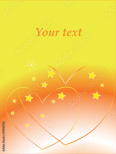 Card. Background with two hearts. Valentines day