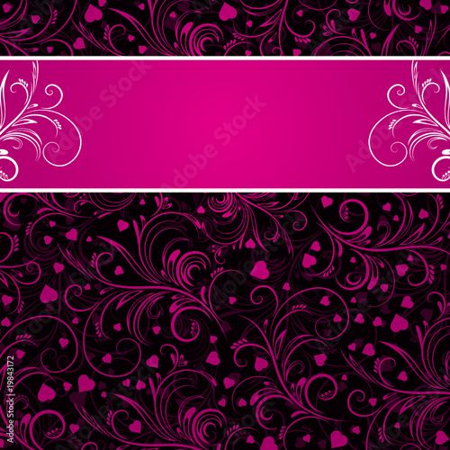 black background with pink decorative ornaments and many  hearts