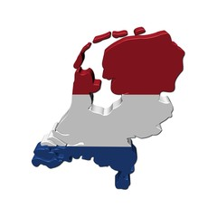 Netherlands map flag 3d render on white illustration