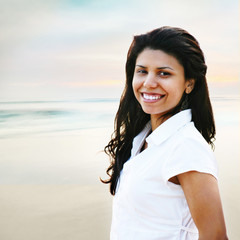Smiling Young Woman Portrait at the Beach