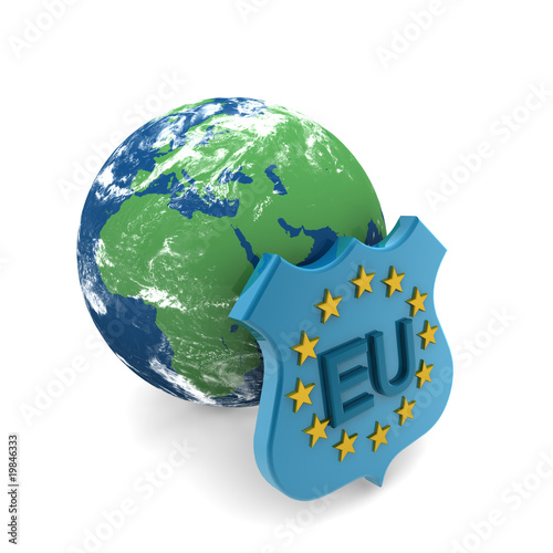 earth map and eu flag