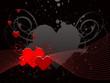 Coeurs rouges sur lignes rouges sur fond noir