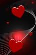Coeurs rouges sur lignes blanches et fond noir