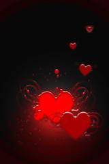 Coeurs rouges sur fond lumineux noir