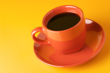 Terracotta cup of coffee