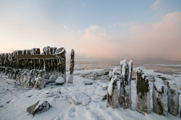 The wadden Sea by Paesens Moddergat in winter condition