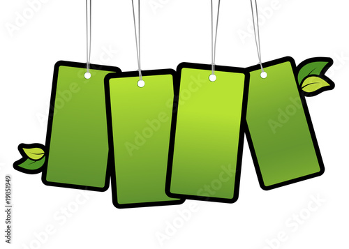 Green tags. Vector art