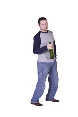 Drunk Man Holding a Wine Bottle