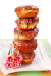 tower of donuts isolated on white