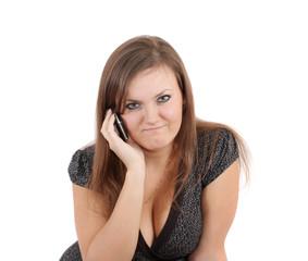 woman speaks on  phone,isolated.