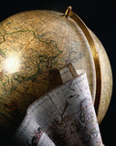 Antique globe and map of the world