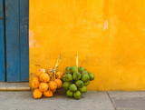 Fresh coconuts in the street of Cartagena, Colombia poster