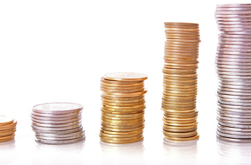 Few coin columns isolated on white