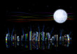 Hi-tech futuristic rainbow city under artificial moon