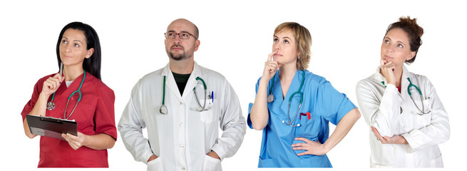 Medical team with pensive gesture