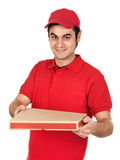 Boy with red uniform delivering a pizza box poster