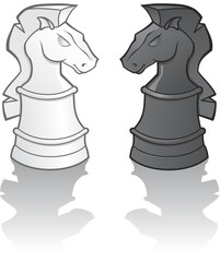 Knight Chess Pieces - vector illustration