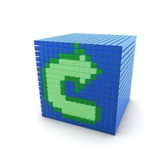 Green Arrow Blue Cube