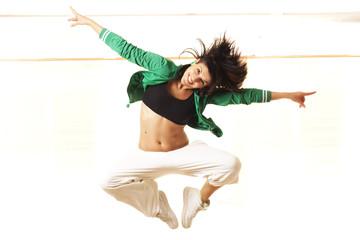 Cute fit girl jumping