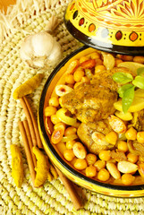 Moroccan chicken with chickpeas and roasted almonds