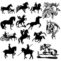 Horse Silhouettes - Vector. Easy Change Colors...