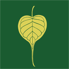 Illustration of Banyan leave in dark green