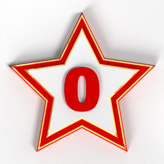 0 - Zero Red Number on star - 3d image