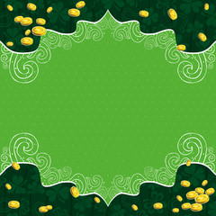 green background with shamrock and   golden coins