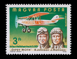 hungarian mail stamp featuring Amy Johnson and Jim Mollison poster