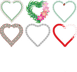 Set of valentine`s hearts, part 6, vector illustration
