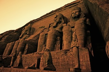 Colossi of Ramses II, Great Temple of Ramses II, Abu Simbel, UNESCO World Heritage Site, Egypt