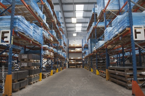 Racking ailse in commercial lighting factory