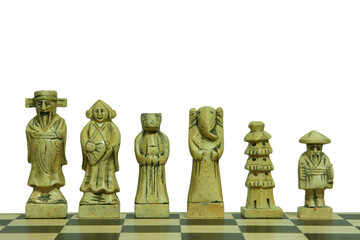 White pieces of stone chess set isolated on white background