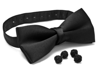 Black bow tie and silk knot cuff links