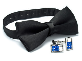 Black bow ties and abacus cufflinks