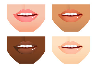Woman lips different nations