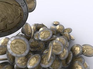 Gewinn als Geldregen mit Euro Münzen