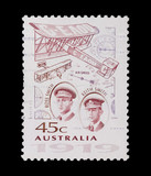 australian mail stamp featuring aviators Ross and Keith Smith poster