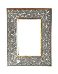 Gold-silver metal frame isolated on white background