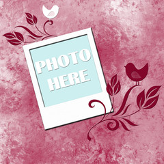 textured background with blank photo frame