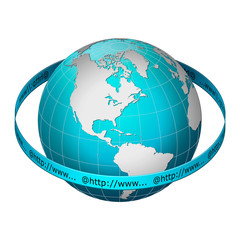 Globe earth with web address ring, America centric