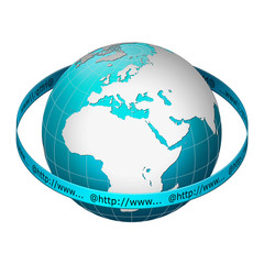 Globe earth with www address ring – Europe centric