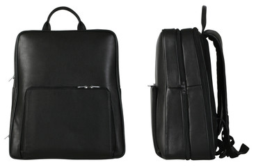 Two black leather travel bags isolated with clipping path