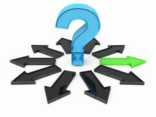 Blaues Fragezeichen und grüner Pfeil