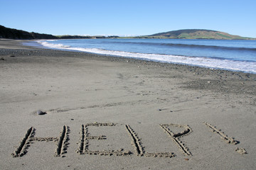 New Zealand beach with HELP text