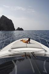 France, Corsica, Girolata Marine National Park, luxury yacht