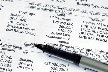 Close up view of the home property insurance policy